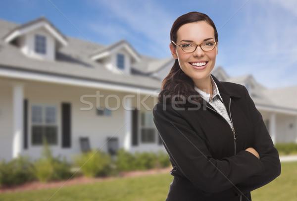 Stockfoto: Halfbloed · vrouw · woon- · huis · aantrekkelijk · mooie