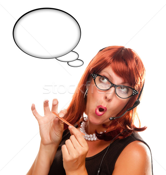 Stock photo: Red Haired Retro Receptionist with Blank Thought Bubble