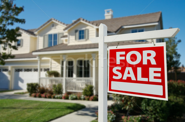 Stock photo: Home For Sale Real Estate Sign and House
