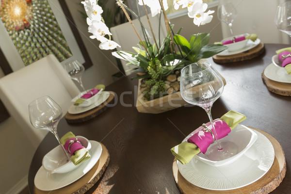 Abstract eettafel plaats mooie huis Stockfoto © feverpitch
