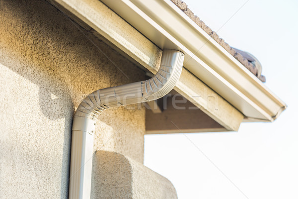 Domu nowego bezszwowy aluminium deszcz budynku Zdjęcia stock © feverpitch