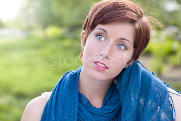 Pretty Blue Eyed Young Red Haired Adult Female Outdoor Portrait Stock photo © feverpitch