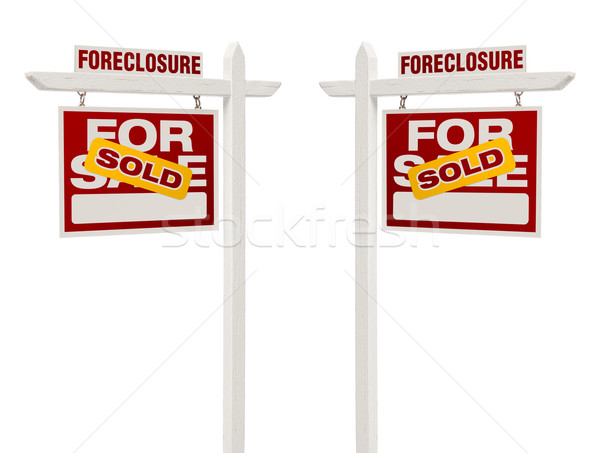 Two Foreclosure Sold For Sale Real Estate Signs, Clipping Path Stock photo © feverpitch