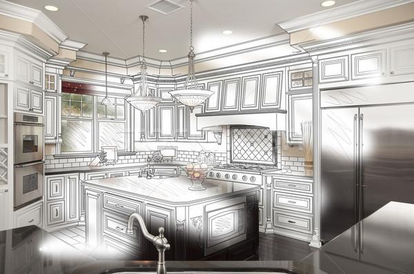 Güzel mutfak dizayn çizim fotoğraf Stok fotoğraf © feverpitch