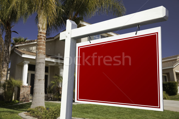 Blank Real Estate Sign and House Stock photo © feverpitch