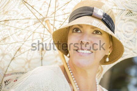 1920s Dressed Girl Near Vintage Car Outdoors Portrait Stock photo © feverpitch