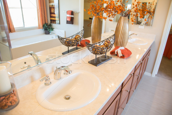 Díszített · új · modern · otthon · fürdőszoba · mosdókagyló ...