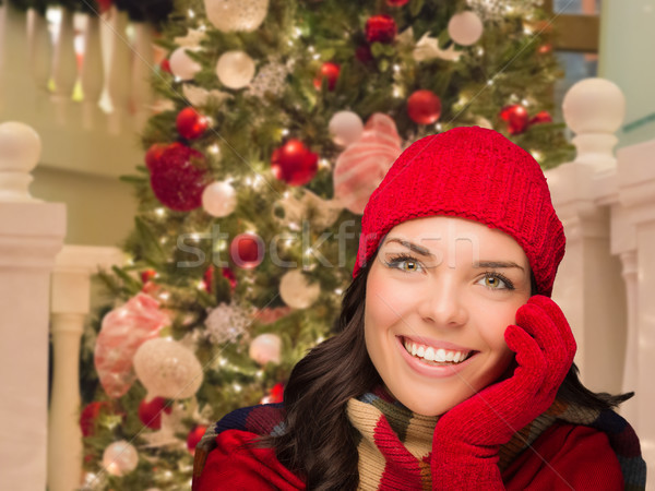 Warmly Dressed Female In Front of Decorated Christmas Tree. Stock photo © feverpitch