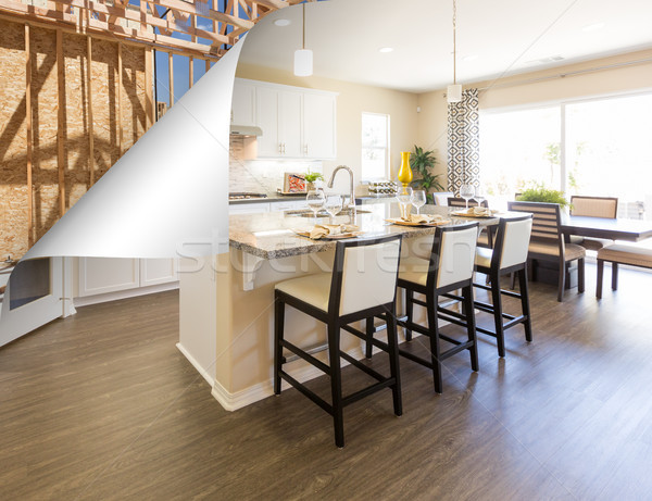 Custom Kitchen with Page Corner Flipping to Construction Framing Stock photo © feverpitch