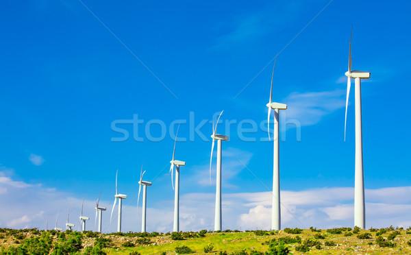 Stockfoto: Dramatisch · windturbine · boerderij · woestijn · Californië · landschap
