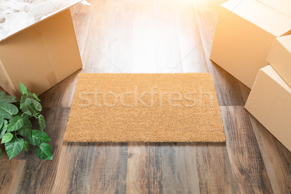 Blank Welcome Mat, Moving Boxes and Plant on Hard Wood Floors Stock photo © feverpitch