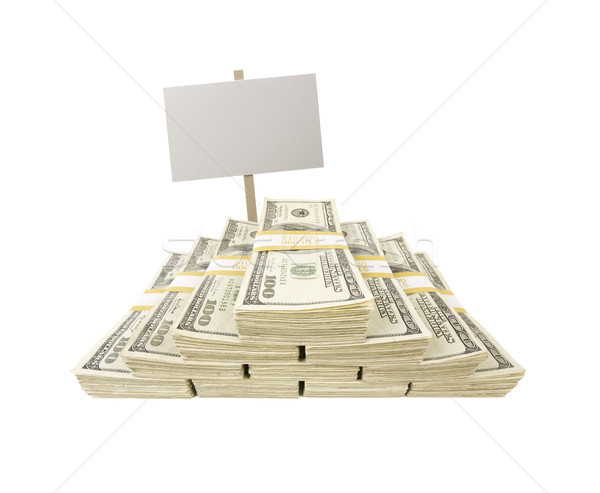 Stacks of One Hundred Dollar Bills on White with Blank Sign Stock photo © feverpitch