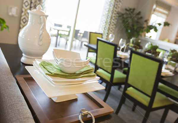 Dining Area of Home with Apple Green Accents Stock photo © feverpitch