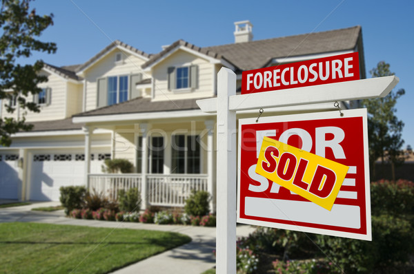Sold Foreclosure Home For Sale Sign and House Stock photo © feverpitch