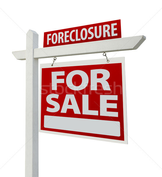 Foreclosure Real Estate Sign Isolated - Right Stock photo © feverpitch