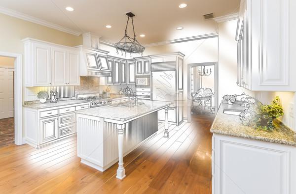 Stockfoto: Gewoonte · keuken · ontwerp · tekening · foto · combinatie