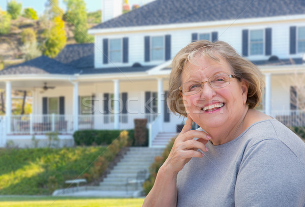 Senior Adult Woman in Front of House Stock photo © feverpitch