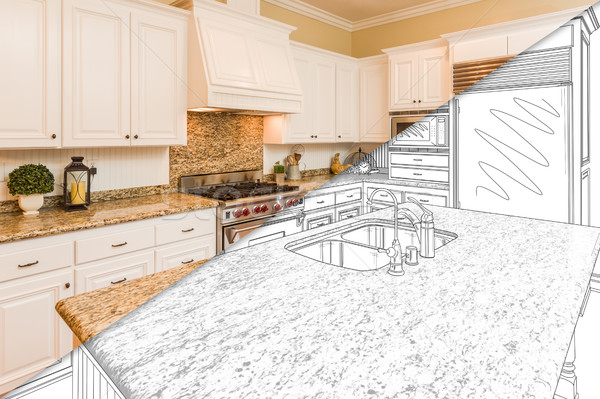 Diagonal Split Screen Of Drawing and Photo of New Kitchen Stock photo © feverpitch