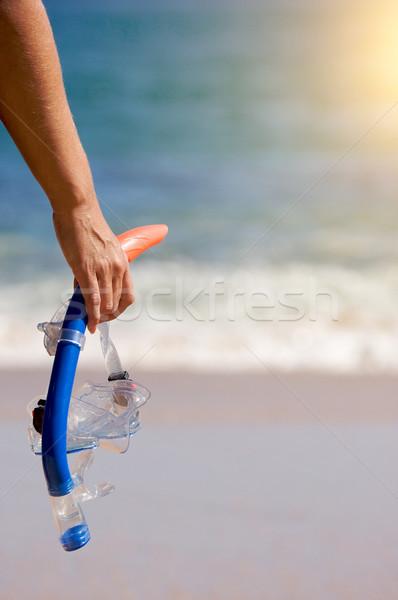 Mujer artes playa océano Foto stock © feverpitch