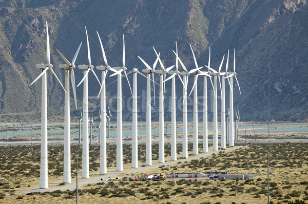 Dramatique éolienne ferme désert Californie paysage Photo stock © feverpitch