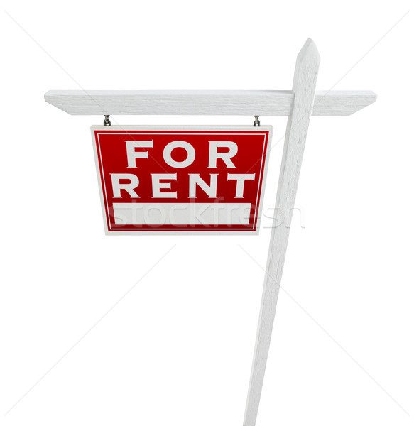 Stock photo: Left Facing For Rent Real Estate Sign Isolated on a White Backgo