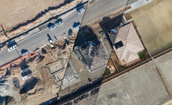 Luchtfoto doorsnede home bouwplaats huis gebouw Stockfoto © feverpitch