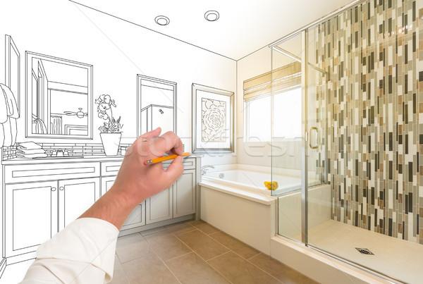 Main dessin coutume maître salle de bain Photo stock © feverpitch