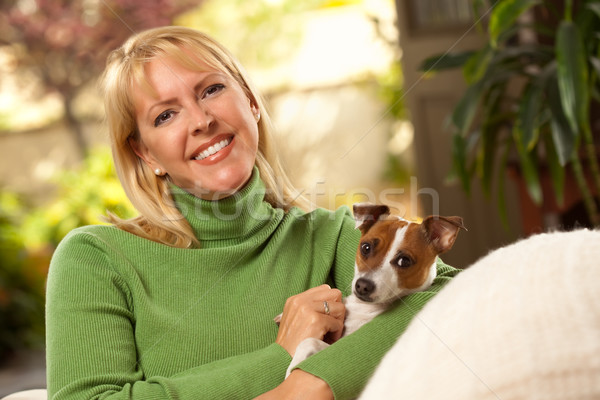 Woman and Puppy Enjoying Their Day on The Sofa Stock photo © feverpitch
