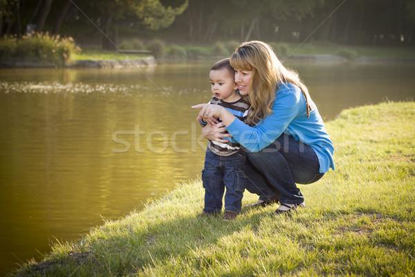 Zdjęcia stock: Szczęśliwy · matka · baby · syn · patrząc · na · zewnątrz