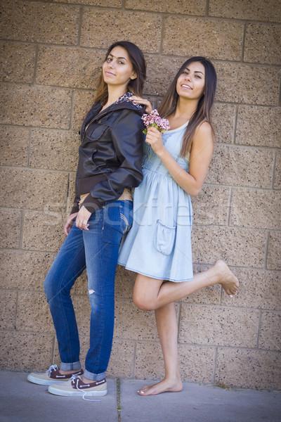 Twee halfbloed tweeling zusters portret mooie Stockfoto © feverpitch