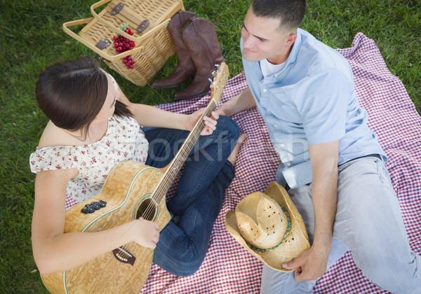 Para parku gry gitara śpiewu Zdjęcia stock © feverpitch