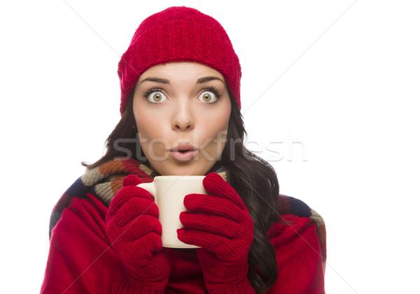 Сток-фото: широкий · женщину · зима · перчатки
