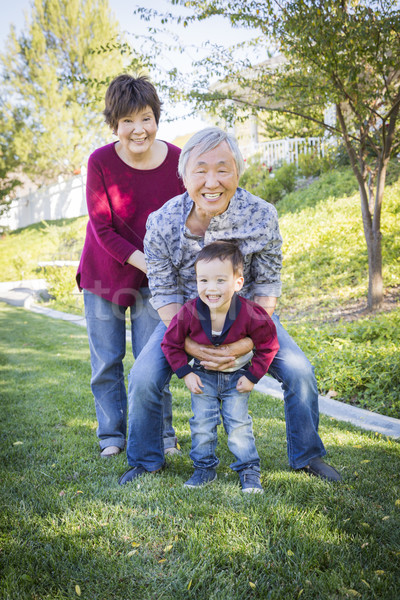 Chinese Grandparents Having Fun with Their Mixed Race Grandson O Stock photo © feverpitch