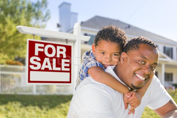 African american padre figlio vendita segno Foto d'archivio © feverpitch