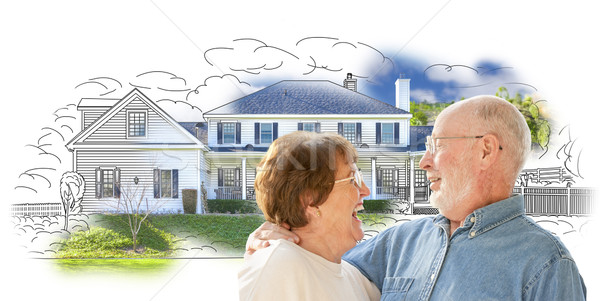 Happy Senior Couple Over House Drawing and Photo on White Stock photo © feverpitch
