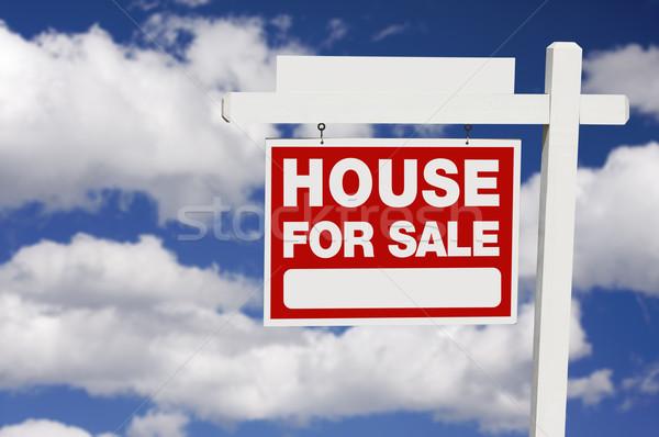 Stock fotó: Otthon · vásár · felirat · felhők · ingatlan · kék