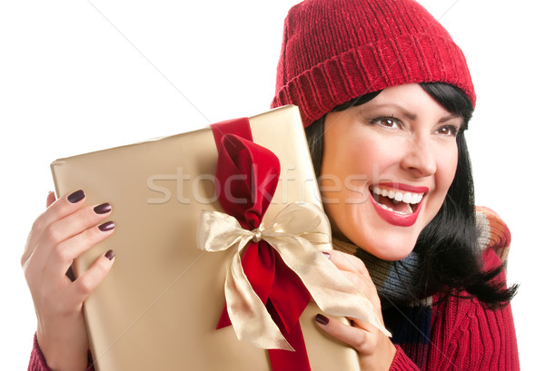 Pretty Woman Holding Holiday Gift Stock photo © feverpitch