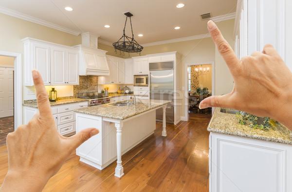 Hands Framing A Beautiful Custom Kitchen Stock photo © feverpitch