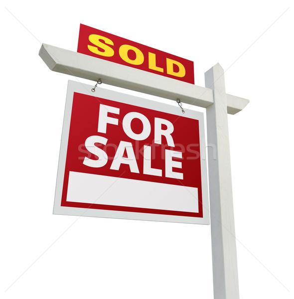 Eladva otthon vásár felirat fehér ingatlan Stock fotó © feverpitch