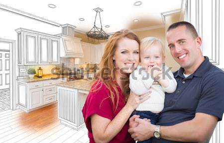 Young Family Over Custom Kitchen Drawing and Photo Combination Stock photo © feverpitch