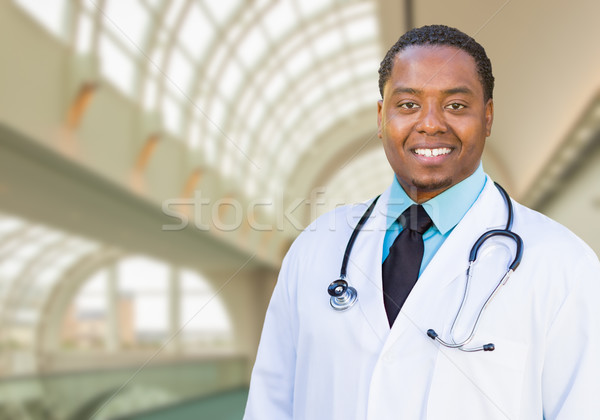African American Male Doctor Inside Hospital Office Stock photo © feverpitch
