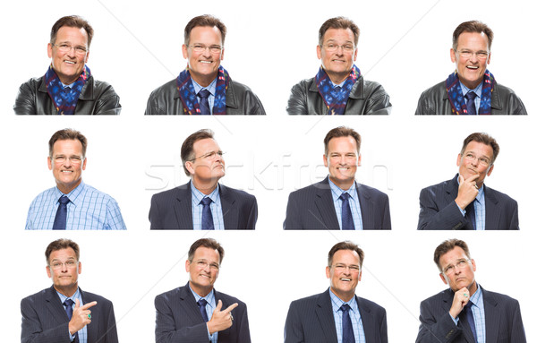 Set of Handsome Mixed Race MIddle Aged Businessman with a Variet Stock photo © feverpitch