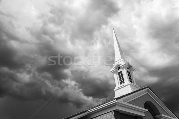 黒白 教会 塔 不吉 嵐の ストックフォト © feverpitch