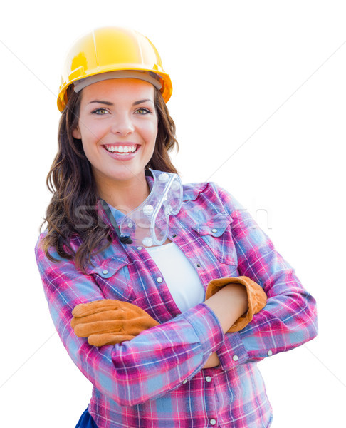 Female Construction Worker Wearing Gloves, Hard Hat and Protecti Stock photo © feverpitch