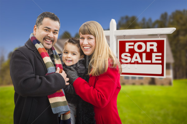 Mixed Race Family, Home and For Sale Real Estate Sign Stock photo © feverpitch