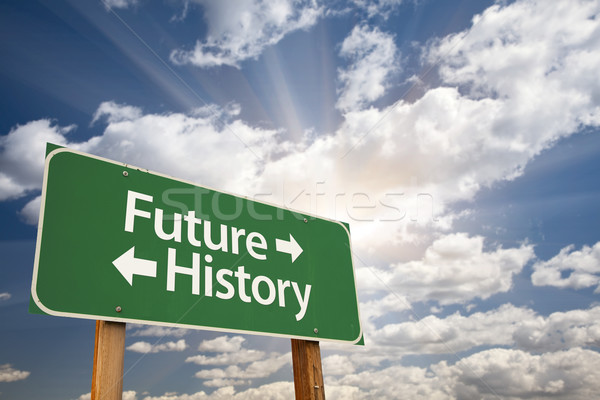 Future and History Green Road Sign Over Clouds Stock photo © feverpitch