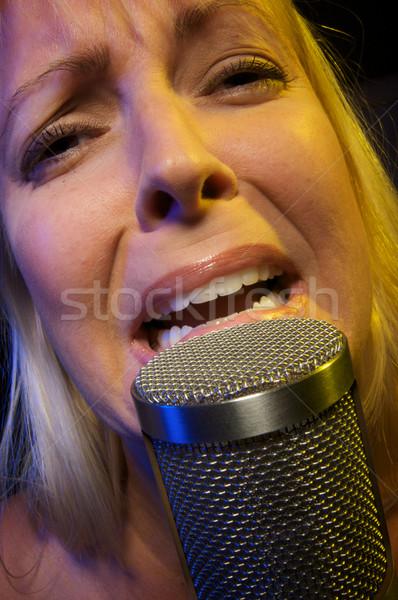Mujer pasión micrófono nina diversión etapa Foto stock © feverpitch