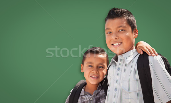 Cute hiszpańskie chłopców kredy pokładzie Zdjęcia stock © feverpitch