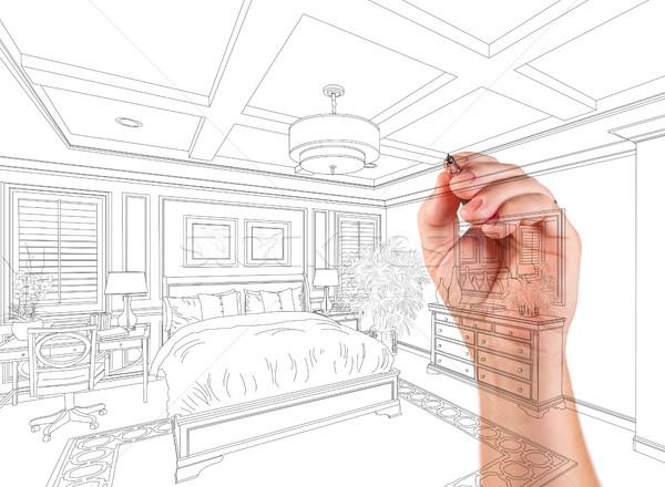 手 図面 カスタム マスター ベッド デザイン ストックフォト © feverpitch