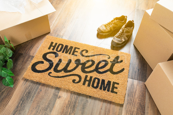 Home Sweet Home Welcome Mat, Moving Boxes, Shoes and Plant on Ha Stock photo © feverpitch